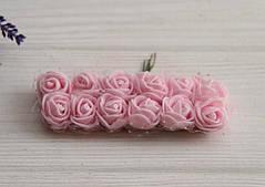 Розы 2,0 см с фатином , бледно - розовые      144 шт