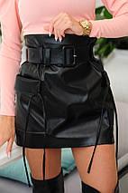 """Кожаная стильная мини-юбка """"CAMPO"""" с поясом и карманами, фото 2"""