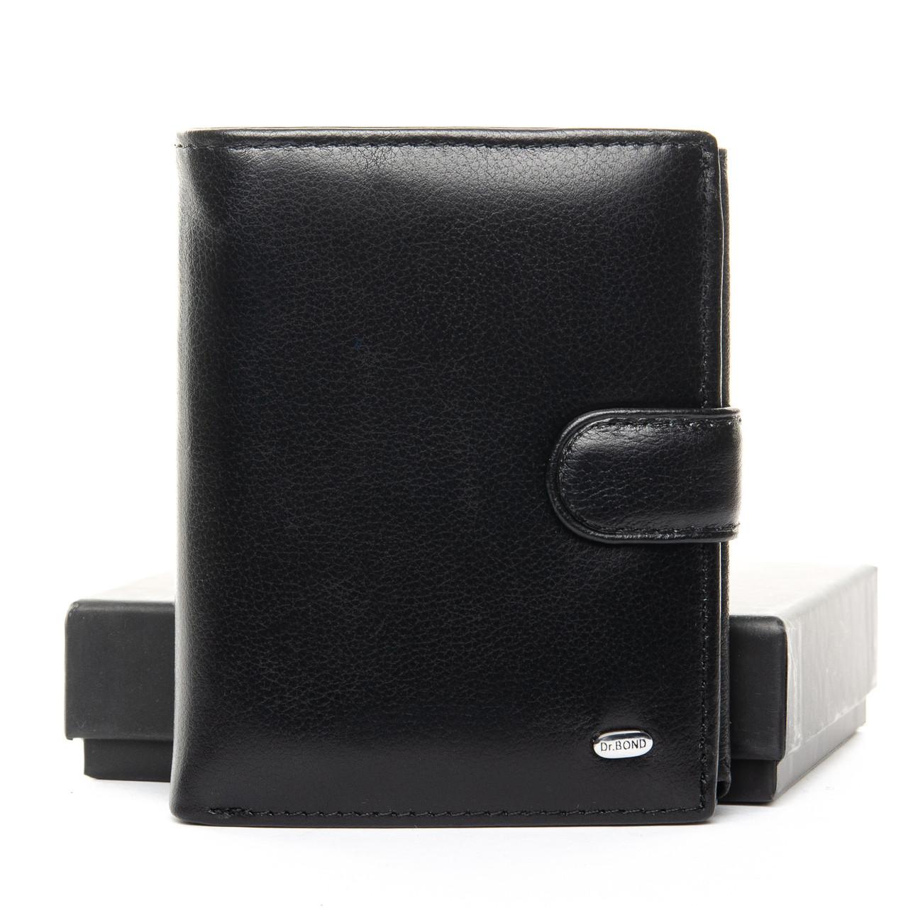 Черный кожаный мужской кошелек портмоне DR. BOND MS-13 black