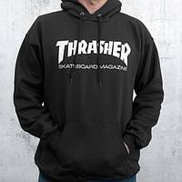 Толстовка чёрная Thrasher skateboards   худи Трешер   кенгуру трашер