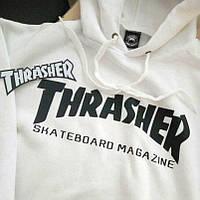 Толстовка белая Thrasher Skateboard   худи Трешер   кенгуру трашер