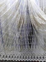 Тюль, гардина фатин с вышивкой для гостиной, спальни, фото 1