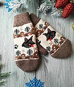 Варежки  новогодние зимние шерстяные Собачки
