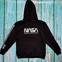 Толстовка чёрная NASA Space   худи насса   кенгуру наса