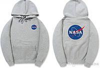 Толстовка серая NASA Logo   худи насса   кенгуру наса