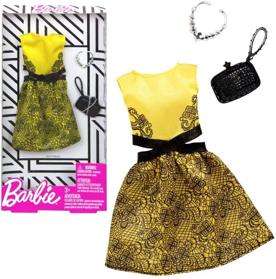 Одежда для куклы Барби Желтое платье с черным орнаментом Barbie Fashion FXJ08