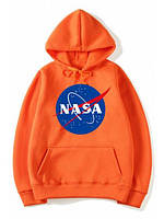 Толстовка оранжевая NASA Logo   худи насса   кенгуру наса
