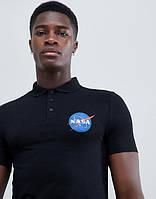 Футболка поло чёрная NASA • тенниска насса