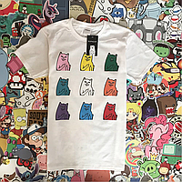 Белая футболка RipNDip с котиками. Мужская и женская. Бирки.