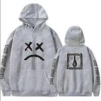 Худи Lil-Peep • Все размеры • Топ качество • Хайповый бренд • серая толстовка M, 48, Весна/осень
