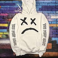 Худи Lil-Peep • Все размеры • Топ качество • Хайповый бренд • белая толстовка M, 48, Весна/осень