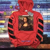 Толстовка красная Off White Mona Lisa Red   Худи офф вайт   кенгуру оф вайт M, 48, Весна/осень