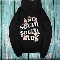 Толстовка чёрная Sakura Anti Social Social Club | Худи ASSC | Кенгуру АССЦ M, 48, Весна/осень