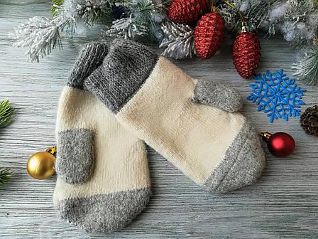 Варежки  новогодние зимние шерстяные Снегири (для взрослых), фото 2