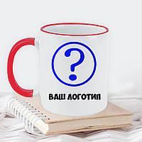Чашка белая с ободком и цветной ручкой 330мл с Вашим логотипом  / Кружка с лого