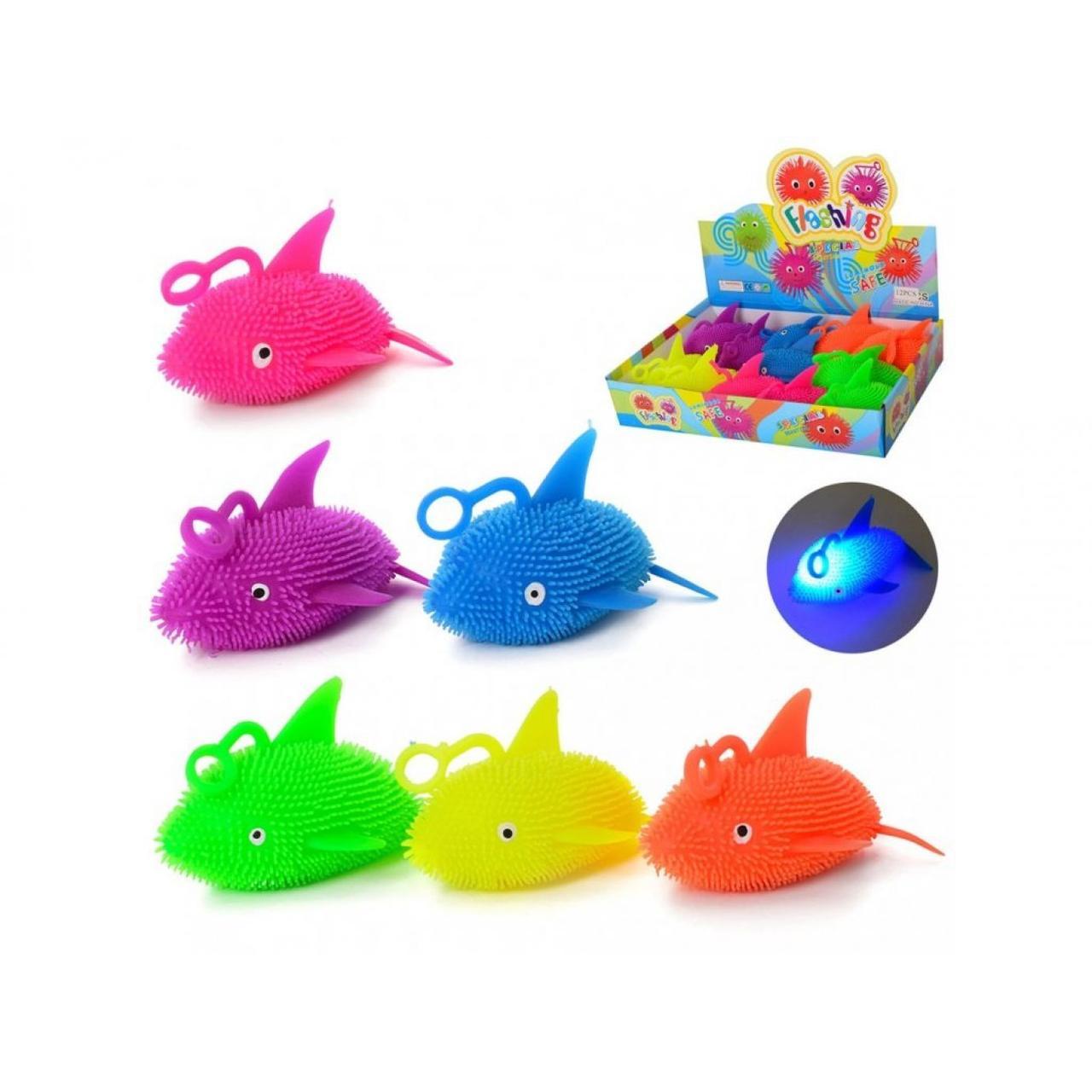 Іграшка-антистрес Йо-їжачок Акула, 13 см, світиться, MS2258-11