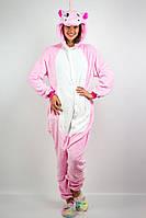 Костюм Пижама кигуруми розовый Единорог для подростков и взрослых девушек, размер от S до XL