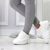 Женские Белые Зимние кроссовки на меху р.40 идёт на 39, фото 1