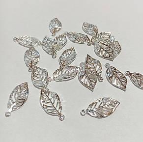 Листья для украшений, листочки металл цвет серебро 13*27 мм. Цена за 1 шт!, фото 2