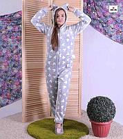 Пижама кигуруми махровый детский с ушками серый теплый кигуруми Микки Маус р. 34-40