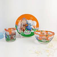 Подарунковий набір дитячого посуду зі скла Тіма і Тома