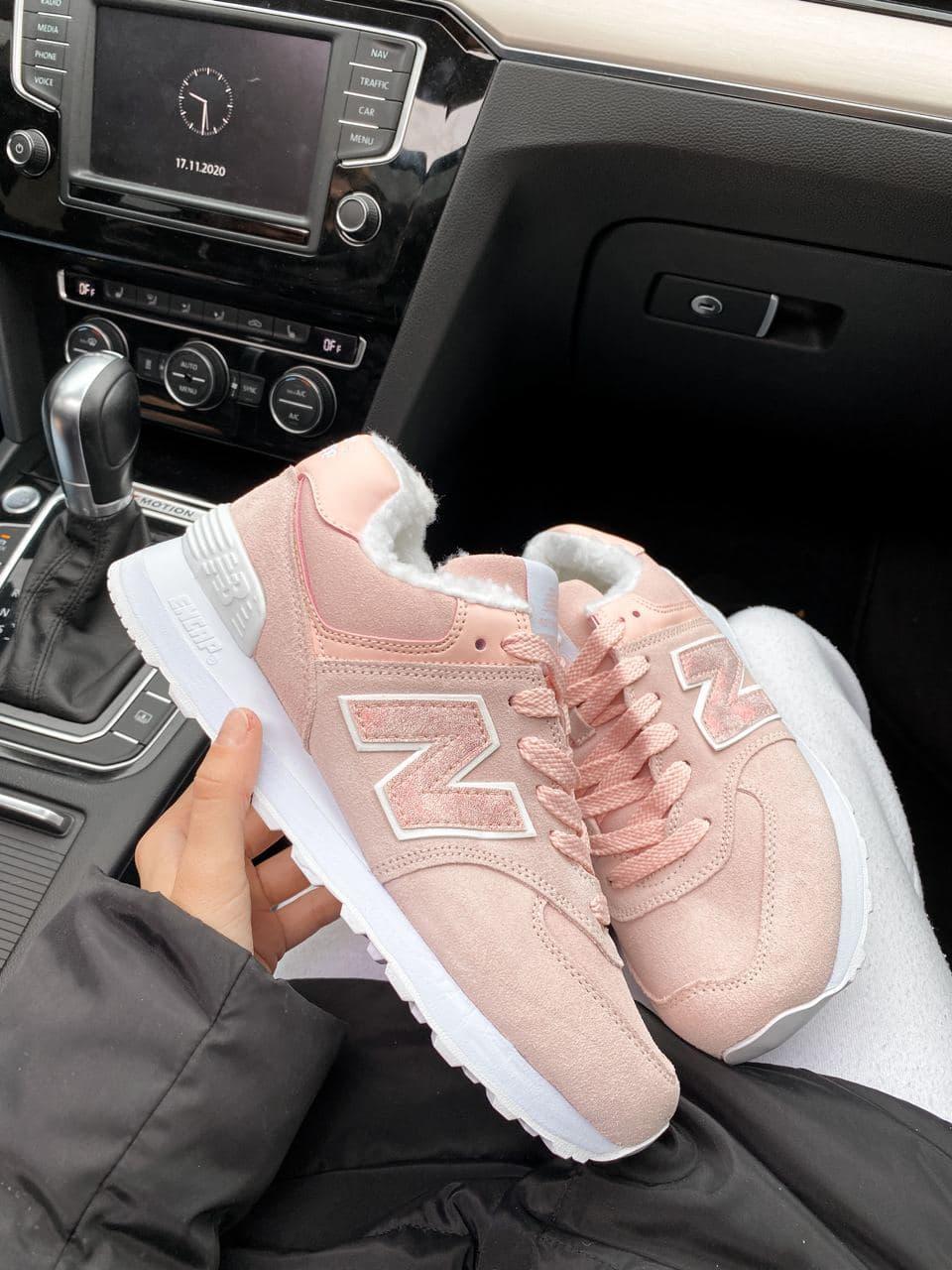 Женские зимние кроссовки New Balance NB 574 на меху PA291 розовые