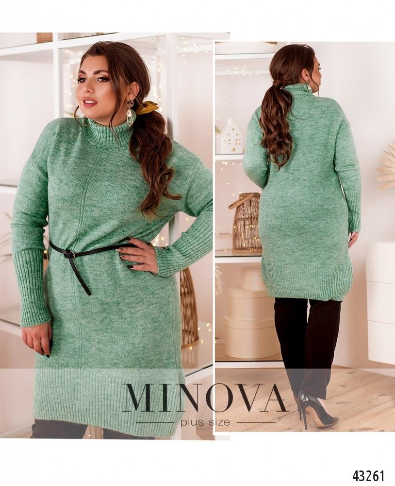 Теплый свитер-туника большого размера №7648/Универсальный(50-56)
