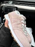 Женские зимние кроссовки New Balance NB 574 на меху PA294 розовые, фото 5