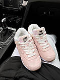 Женские зимние кроссовки New Balance NB 574 на меху PA294 розовые, фото 9