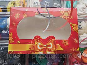 Коробочка для конфет и подарков красная с окном