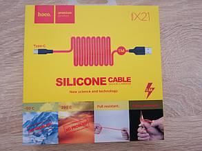 USB кабель HOCO X21 Silicone Type-C чорно-червоний
