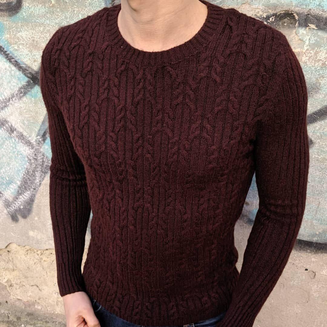 Мужской теплый свитер CK1517 бордовый