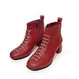 Ботинки с фальш-шнуровкой, каблук 4,5см, цвет красная груша, в наличии размер 38, фото 3