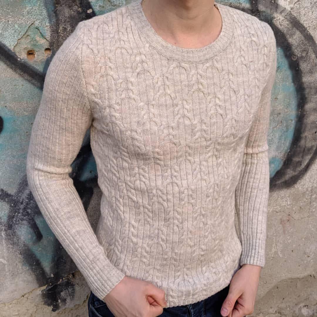 Мужской теплый свитер CK1519 бежевый