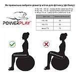 М'яч для фітнесу PowerPlay 4001 65см Чорний + насос, фото 6