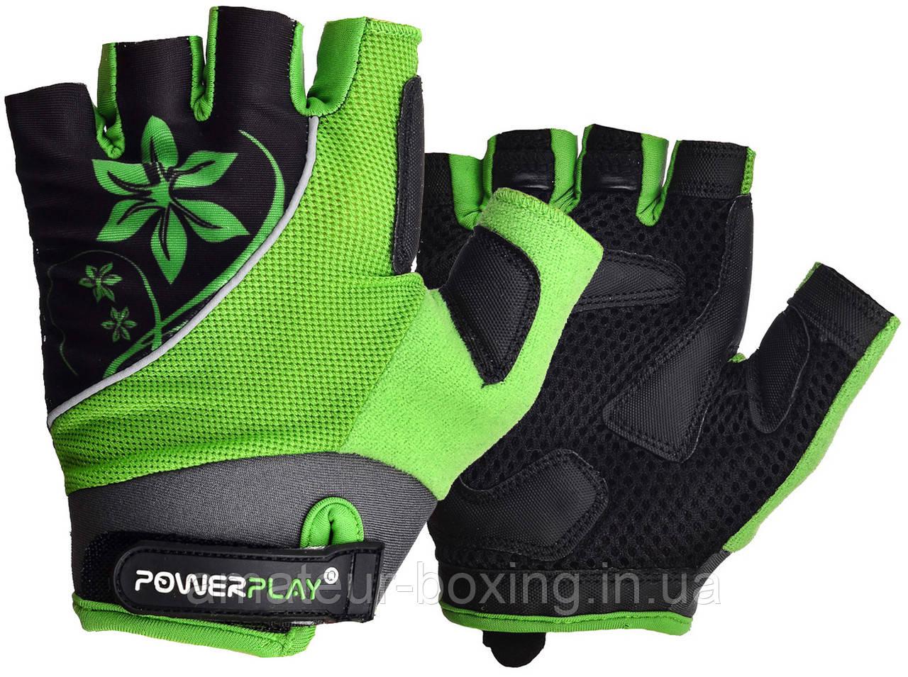 Велорукавички PowerPlay 5281 A Зелені M
