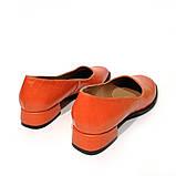 Глубокие туфли с квадратным носком и каблуком 2см, цвет морковный, фото 4