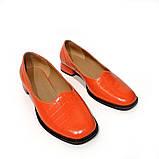 Глубокие туфли с квадратным носком и каблуком 2см, цвет морковный, фото 3