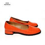 Глубокие туфли с квадратным носком и каблуком 2см, цвет морковный, фото 2