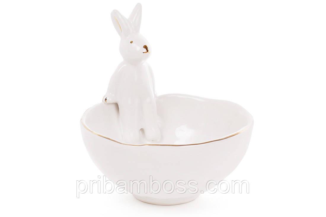 Пиала керамическая 250мл с фигуркой Кролика с золотыми ушками, цвет - белый