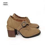 Глубокие туфли-монки с оригинальным каблуком 8см, цвет табако, в наличии размер 38, фото 2