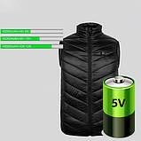 Зимовий жилет Puntos з інфрачервоним підігрівом c USB S Чорний, фото 5