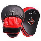 Боксерські Лапи PowerPlay 3041 Чорно-Червоні PU [пара], фото 9