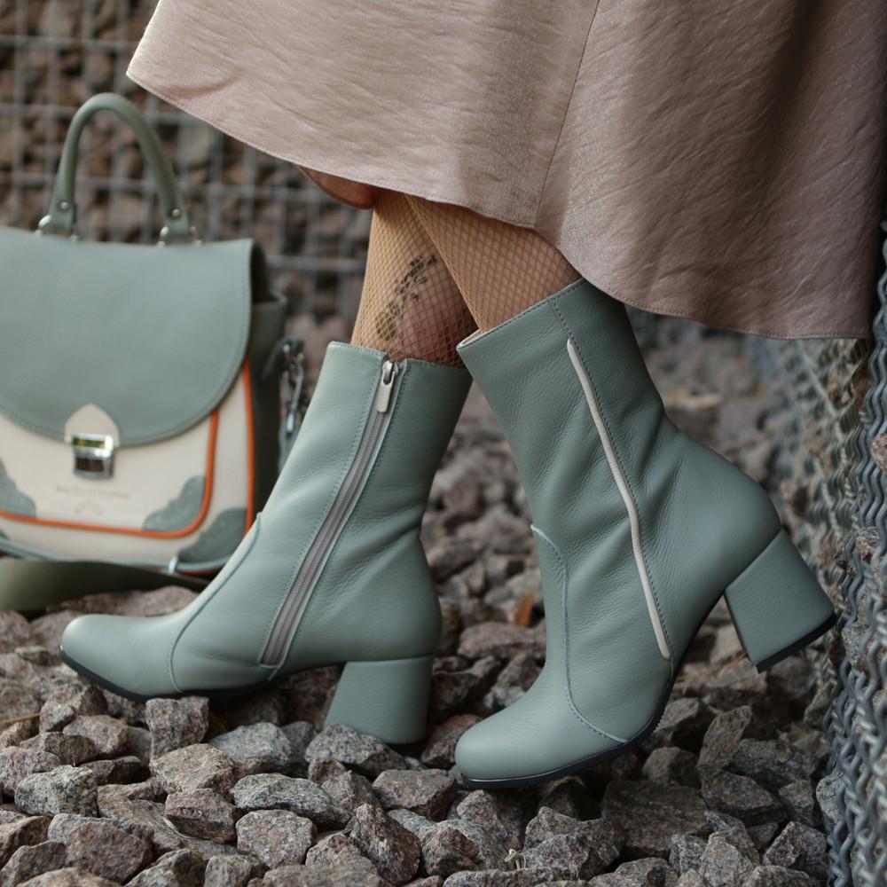 Ботинки с каблуком 6см, цвет полынь, в наличии размер 38