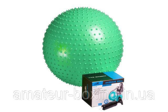 М'яч-масажер для фітнесу PowerPlay 4002 65см Зелений + насос