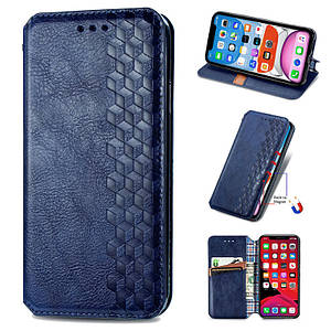Чехол-книга для Samsung Galaxy S20 FE кожа магнит подставка чохол книжка на самсунг с20 фе темно синяя