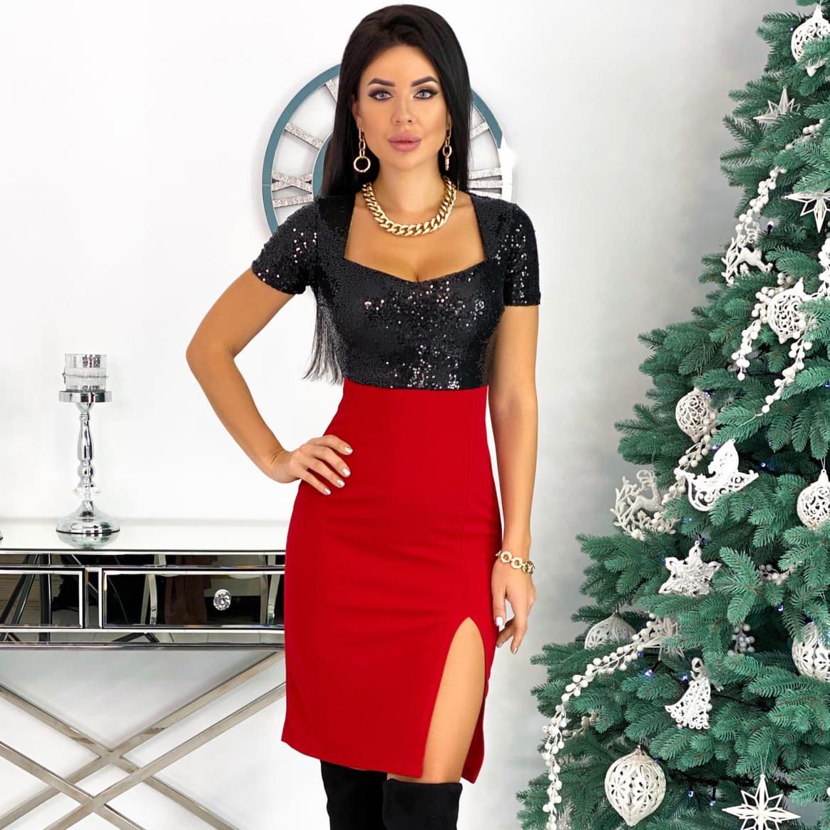 Красное вечернее платье с пайетками