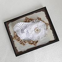 Белая повязка новорожденной девочке на крестины, фото 1