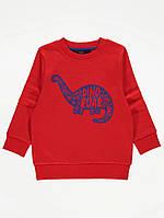 Червоний дитячий світшот на флісовому начосі Динозаврик Джордж для хлопчика