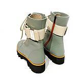 Ботинки на толстой подошве и ремешком по голени, цвет полынь, фото 4